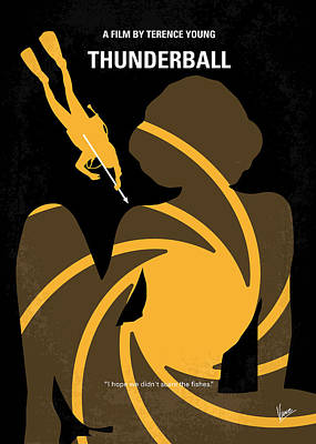 Honey Digital Art - No277-007 My Thunderball Minimal Movie Poster by Chungkong Art