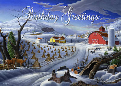 New England Snow Scene Painting - no3 Birthday Greetings by Walt Curlee