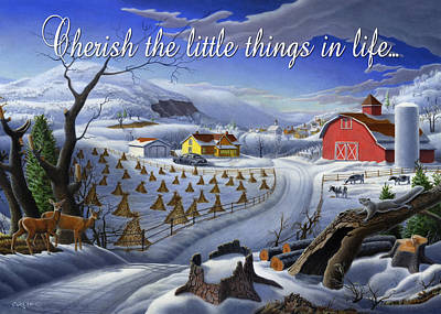 Folksie Painting - no3 Cherish the little things in life by Walt Curlee