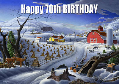Folksie Painting - no3 Happy 70th Birthday by Walt Curlee