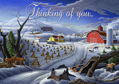 Folksie Painting - no3 Thinking of you  by Walt Curlee