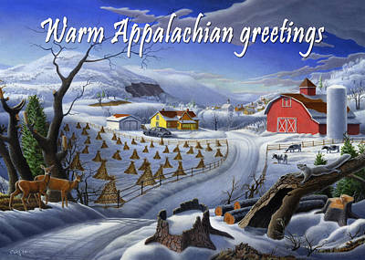 New England Snow Scene Painting - no3 Warm Appalachian greetings by Walt Curlee