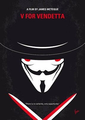 No319 My V For Vendetta Minimal Movie Poster Print by Chungkong Art
