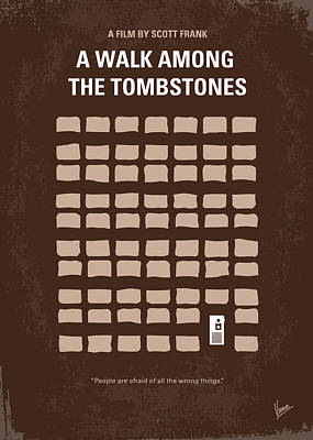 No341 My Walk Among The Tombstones Minimal Movie Poster Print by Chungkong Art