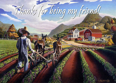 Folksie Painting - no5 Thanks for being my friend by Walt Curlee