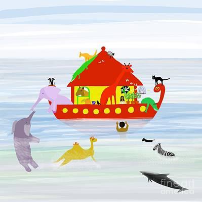 Aligator Digital Art - Noah's Ark by Barbara Moignard