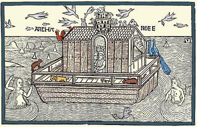 Noahs Ark With Merfolk, 1493 Print by Photo Researchers
