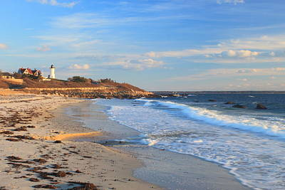 Nobska Lighthouse And Nobska Beach Cape Cod Print by John Burk