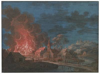 Nocturnal Conflagration In A Small Village Print by Celestial Images