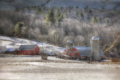 Red Barn In Winter Photograph - Nolan Farm - Vermont Farm by Joann Vitali
