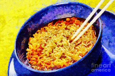 Noodle With Wooden Chopsticks Painting Print by Magomed Magomedagaev