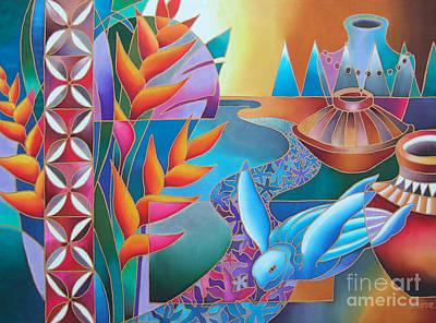 Heliconia Painting - Noqu Viti by Maria Rova