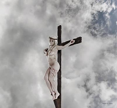 The Wooden Cross Photograph - Nordic Female Jesus by Ramon Martinez