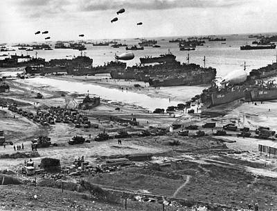 1944 Photograph - Normandy Beach Supplies by Underwood Archives