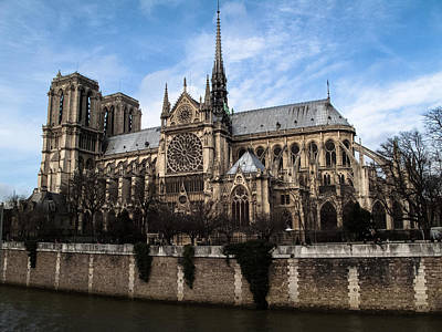 Norte Dame Cathedral-the South Side Print by Linda Posnick