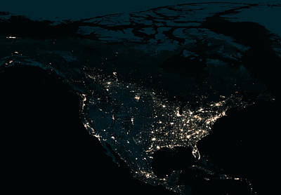 Cosmology Photograph - North America At Night by Celestial Images