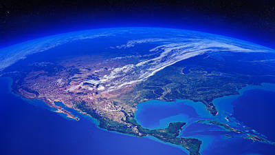 Aerials Photograph - North America Seen From Space by Johan Swanepoel