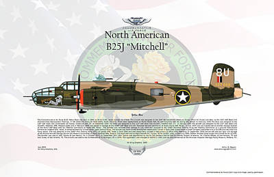 North American B-25j Mitchell Yellow Rose Print by Arthur Eggers