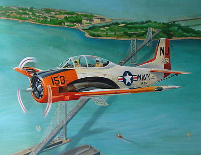 U.s. Navy Painting - North American T-28 Trainer by Stuart Swartz