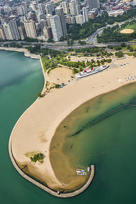 Helicopters Photograph - North Avenue Beach And Castaways Restaurant by Adam Romanowicz