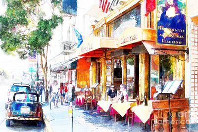 Bay Area Digital Art - North Beach Street Scene Outdoor Dining San Francisco 7d7451wcstyle by Wingsdomain Art and Photography