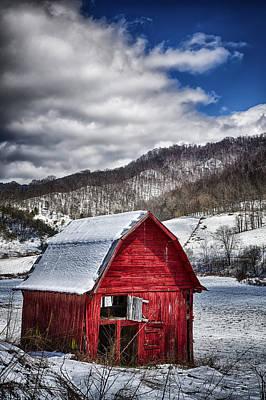 Snowstorm Photograph - North Carolina Red Barn by John Haldane