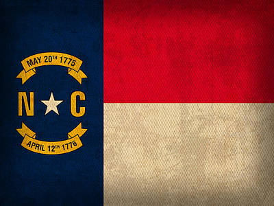Charlotte Mixed Media - North Carolina State Flag Art On Worn Canvas by Design Turnpike
