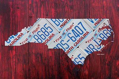 North Carolina Mixed Media - North Carolina State License Plate Map Art by Design Turnpike