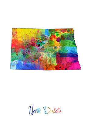 North Dakota Map Print by Michael Tompsett