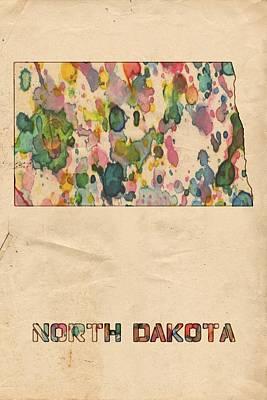 Bismarck Painting - North Dakota Map Vintage Watercolor by Florian Rodarte