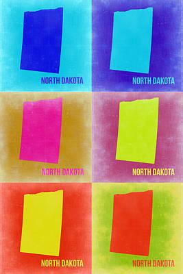 City Map Painting - North Dakota Pop Art Map 2 by Naxart Studio