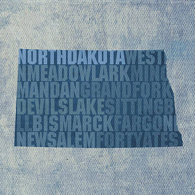 Mixed Media - North Dakota Word Art State Map On Canvas by Design Turnpike