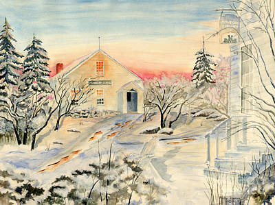 New England Winter Scene Painting - North End In Snow by Melly Terpening
