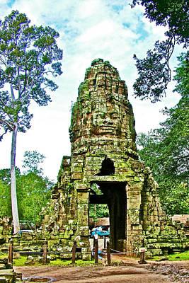 Angkor Digital Art - North Gate Of Angkor Thom In Angkor Wat In Angkor Wat Archeological Park Near Siem Reap-cambodia by Ruth Hager