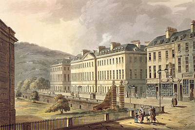 Street Drawing - North Parade, From Bath Illustrated by John Claude Nattes