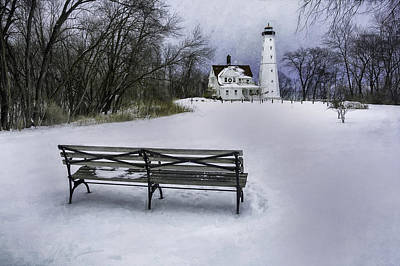 Benches Digital Art - North Point Lighthouse And Bench by Scott Norris