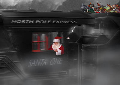 Father Christmas Digital Art - North Pole Express by Mike McGlothlen