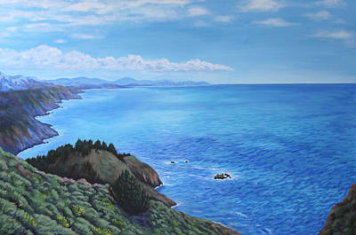 Nature Painting - Northern California Coastline by Penny Birch-Williams