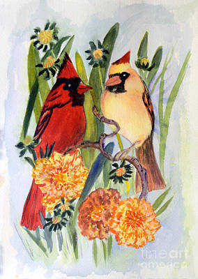 Colorful Painting - Northern Cardinal by Donna Walsh