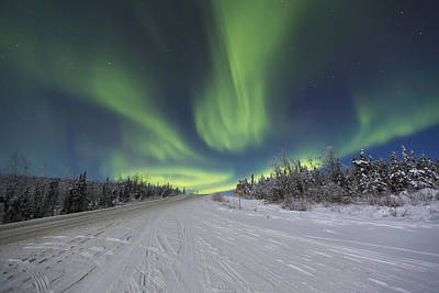 Northern Lights Dancing Over The James Print by Lucas Payne