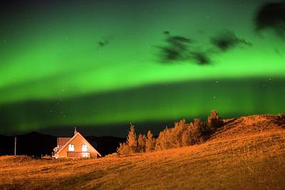 Northern Lights Over A House Print by Ashley Cooper