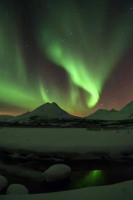 Northern Lights Over Frozen Lake Troms Print by Sandra Schaenzer
