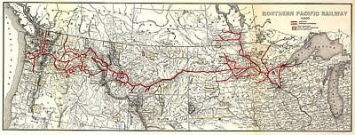 Brakeman Photograph - Northern Pacific Railway Map  1900 by Daniel Hagerman