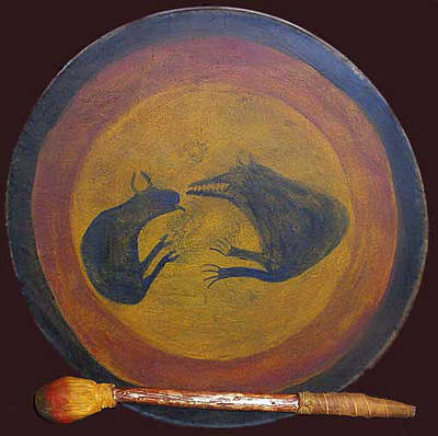 Hand Painted Pendant Mixed Media - Northern Plains Drum by Native Arts Trading