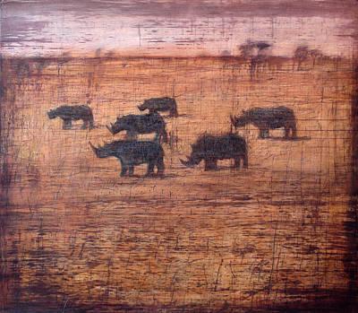 Northern White Rhinoceros, 2008 Oil On Board Print by Charlie Baird