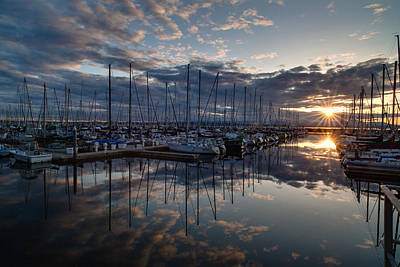 Northwest Marina Sunset Sunstar Print by Mike Reid