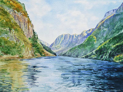 River View Painting - Norway Fjord by Irina Sztukowski
