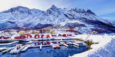 Norwegian Fishing Village Painting - Norway In Winter 1 by Lanjee Chee