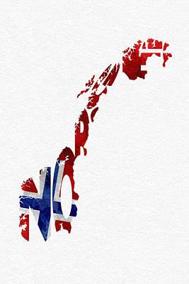 Norway Typographic Map Flag Print by Ayse Deniz