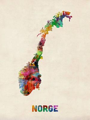 Norwegian Digital Art - Norway Watercolor Map by Michael Tompsett